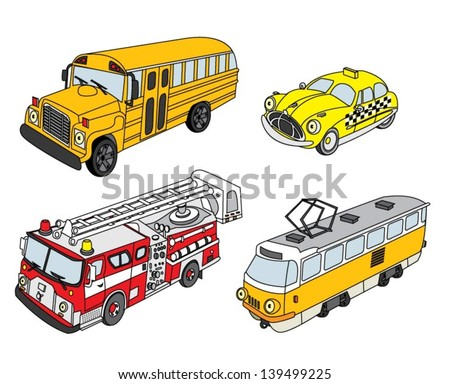 City vehicle set - stock vector
