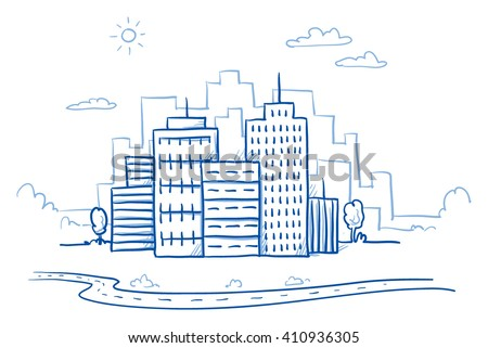 City view with office buildings and road. Hand drawn doodle vector illustration - stock vector