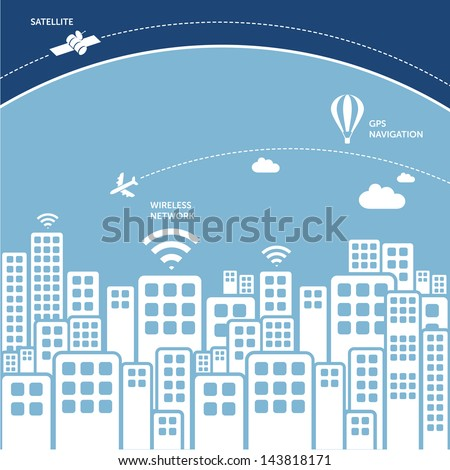 city view with piece of atmosphere and satellite in the space - wireless connection technology concept - stock vector