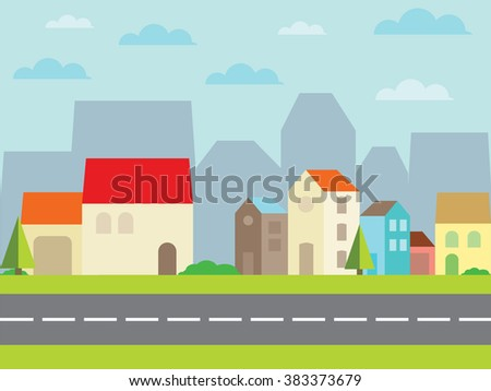 city with beautiful houses. vector illustration - stock vector