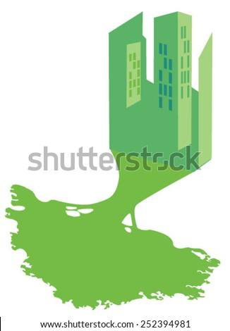 City with shadow shaped like tree - stock vector
