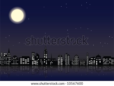 City with shone windows in buildings - stock vector
