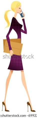 city woman - stock vector