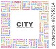 CITY. Word collage on white background. Illustration with different association terms. - stock vector