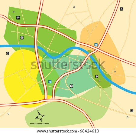 City zone plan vector map
