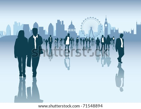 Cityscape and skyline with crowds of business and normal people walking outside - stock vector