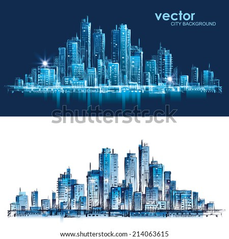 Cityscape at night. Hand drawn vector