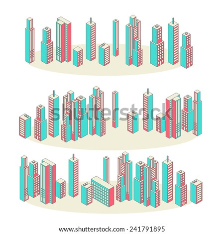 Cityscape Background Architecture Isometric style. Flat Design Vector Illustration. Vector Banners. Set of Three. - stock vector