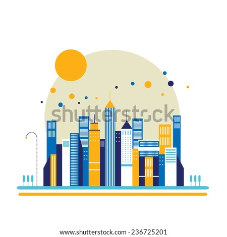 Cityscape background Architecture Modern flat design style - stock vector