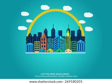 Cityscape background. City building silhouettes. Modern flat design style. Vector illustration