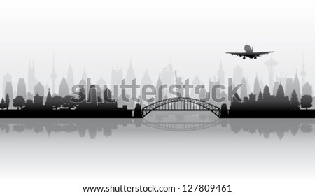 Cityscape background - Town skyline  vector silhouette - stock vector