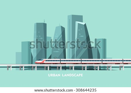 Cityscape background. Urban landscape. Downtown with skyscrapers and railway. Vector flat illustration.
