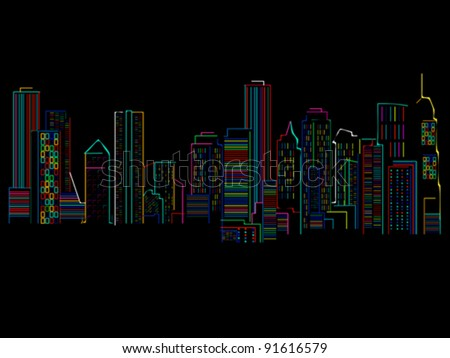 Cityscape background with colored skyscrapers over black background . abstract art illustration