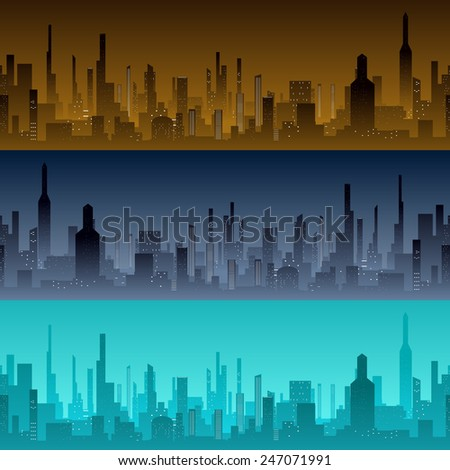 Cityscape backgrounds. View of the city with skyscrapers in the morning, evening and night. Vector illustration - stock vector