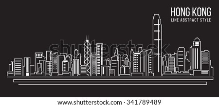 Cityscape Building Line art Vector Illustration design (Hong kong ) - stock vector