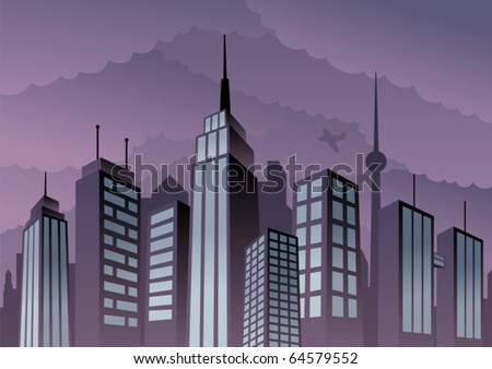 Cityscape: Cartoon city. Basic (linear) gradients used. No transparency. - stock vector