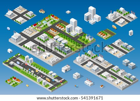 Cityscape design elements with isometric building city map generator. 3D flat icon set. Isolated collection objects for creating your perfect road, park, transport, trees, infrastructure, industrial
