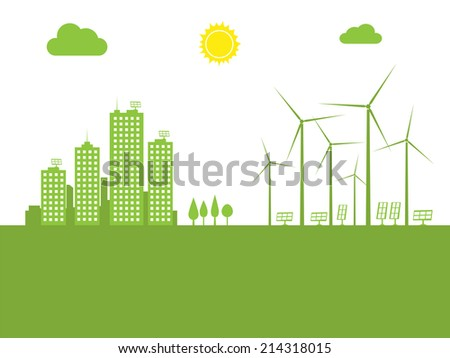 cityscape ecology concept vector illustration - stock vector