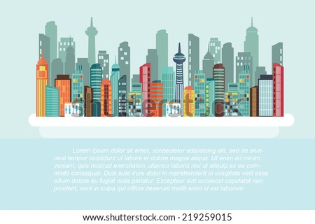cityscape - Flat design - stock vector
