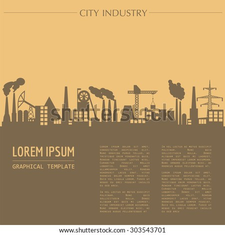 Cityscape graphic template. Industry city buildings. Vector illustration with different industrial buildings. City constructor. Template with place for text. Colour version - stock vector