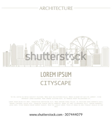 Cityscape graphic template. Modern city architecture. Vector illustration with different modern city buildings, such as office buildings, skyscrapers, houses, entertainments. City constructor. Outline - stock vector