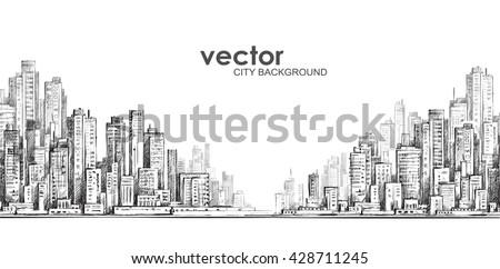 Cityscape. Hand drawn vector - stock vector