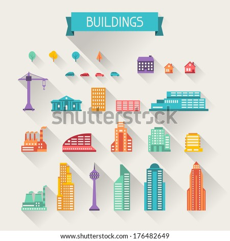Cityscape icon set of buildings. - stock vector