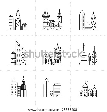Cityscape icons. Urban city and old town skyline and buildings - stock vector