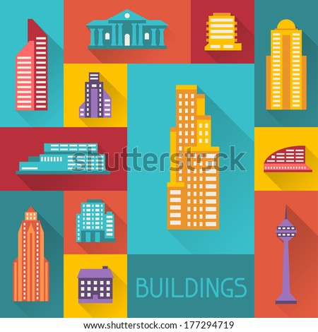 Cityscape illustration with buildings in flat design style. - stock vector