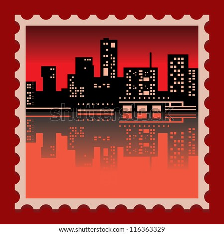 cityscape in red and black color - stock vector