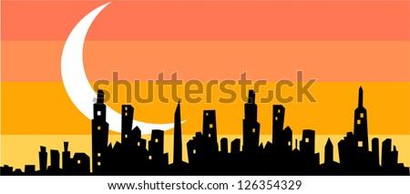Cityscape night background - stock vector