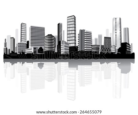 Cityscape on the river. Black and white architecture. Vector. - stock vector