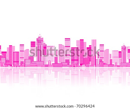 Cityscape seamless background for your design, urban art - stock vector