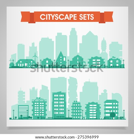 Cityscape sets with various parts of a city: small towns or suburbs and downtown silhouettes - stock vector