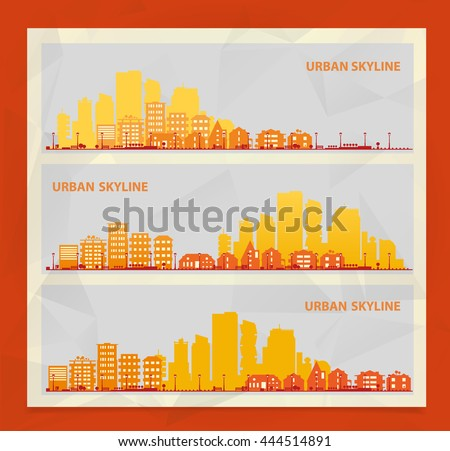 Cityscape sets with various parts of a city. Small towns or suburbs and downtown silhouettes. Illustration divided on layers for create parallax effect - stock vector