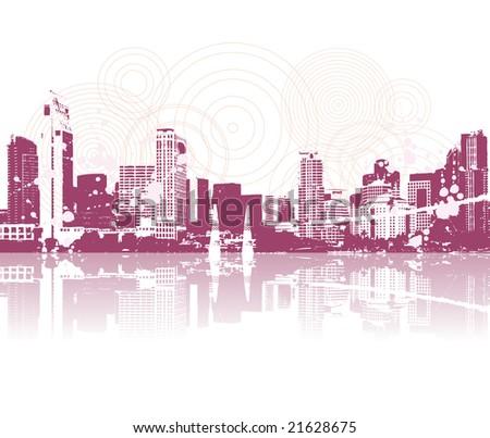 Cityscape silhouette black for your design - stock vector