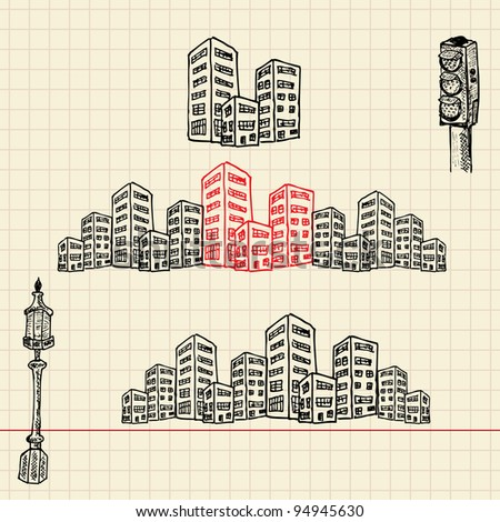 Cityscape, sketch set, vector illustration, eps10 - stock vector