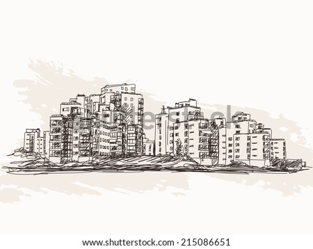 Cityscape sketch Vector illustration - stock vector