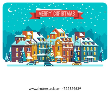 Cityscape. The city in christmas. Urban landscape . Vector flat illustration.