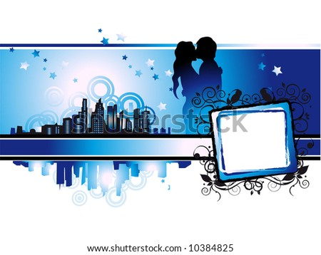 Cityscape, urban frame, couple kissed, valentine - stock vector