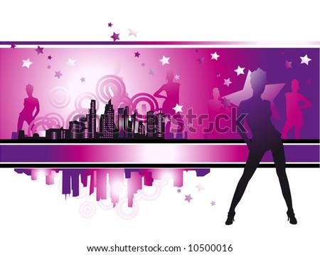 Cityscape Urban Frame Fashion Girls Night Stock Vector 10500016 ...