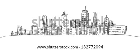 Cityscape Vector Illustration Line Sketched Up, EPS 10.