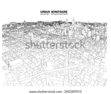 Cityscape Vector Sketch. Architecture - Illustration - stock vector