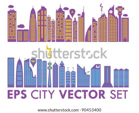 Cityscape Vector Skyline Element Set - stock vector
