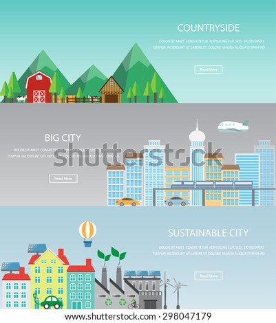 cityscape web page banner, infographic elements. there are urban, countryside and sustainable city template. Can be used for background, layout, diagram, web design, brochure. Vector  illustration - stock vector