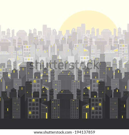 Cityscape with beautiful modern architecture. City design. Lots of business buildings. Big city vector illustration.  - stock vector