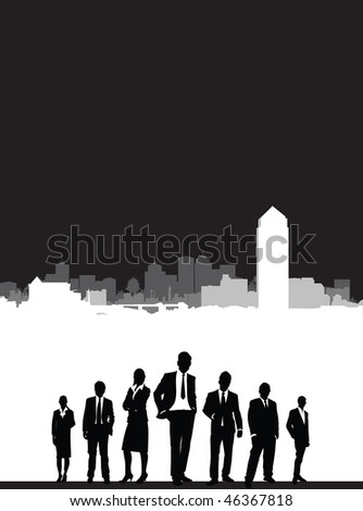 cityscape with business people
