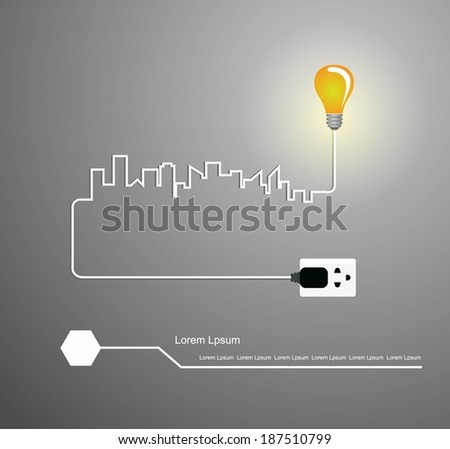 Cityscape with creative wire light bulb idea concept, - stock vector