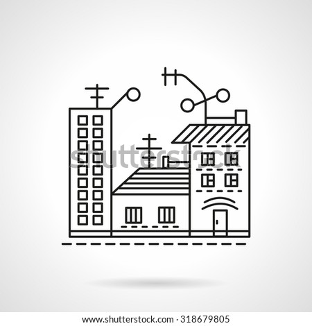 Cityscape with houses. Thin line vector icon. Symbol for real estate, rent of property, mortgage. Elements for web design and business - stock vector