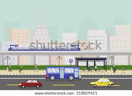 Cityscape with train, people and bus stop, public transportation. vector illustration - stock vector